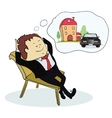 Man dreaming house and car vector image vector image