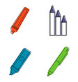 marker icon set color outline style vector image