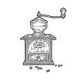 old coffee grinder sketch vector image