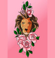 pink tribal tattoo decoration lion and rose vector image vector image