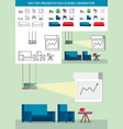 presentation icons with projector vector image vector image