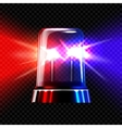Red and blue emergency transparent flashing siren vector image