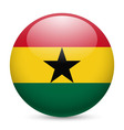 Round glossy icon of ghana vector image vector image
