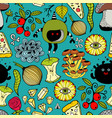 seamless colorful pattern with monsters and food vector image