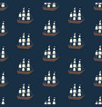 seamless ship and whale pattern ocean or vector image vector image