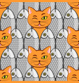 seamless with fish and cats vector image