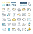 Set Flat Line Icons Online Payment vector image