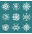 Set of 9 hand drawn symmetric white snowflakes vector image