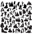 set of couples silhouettes vector image