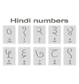 Set of monochrome icons with hindi numbers vector image