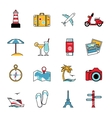 set travel and tourism line icons flat style vector image vector image