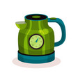 shiny green electric kettle with thermometer vector image