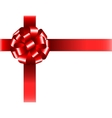 Shiny red ribbon with bow on white background vector image