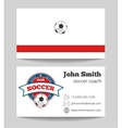 Soccer coach business card template with logo vector image vector image