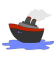 steamship on sea on white background vector image vector image