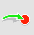 The green arrow points to the red button vector image