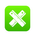 two crossed rulers icon digital green vector image vector image