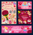 valentines day love heart balloons cupids roses vector image