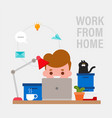 work from home happy young man working remotely vector image vector image