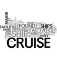 amenities on common cruise ships text word cloud vector image vector image