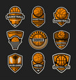 basketball tournament vintage isolated label set vector image