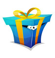 birthday gift box with fun creature inside vector image vector image