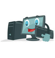 black cute computer mascot vector image vector image