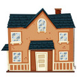 brick house with blue roof vector image vector image
