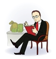 businessman with a book near the table with money vector image