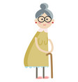 cartoon an old lady with spectacles and vector image