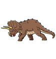 cartoon angry triceratops charging vector image vector image
