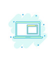 cartoon colored laptop icon in comic style vector image