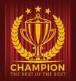 champion the best best golden cup vector image vector image