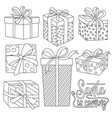 christmas gift boxes collection for coloring vector image