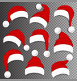 christmas santa claus red hats with shadow vector image vector image