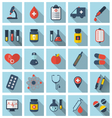collection trendy flat medical icons with long vector image vector image