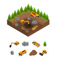construction quarry with excavators and equipment vector image vector image