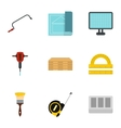 Construction tools icons set flat style vector image vector image