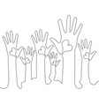 continuous line hands volunteering concept vector image
