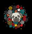 cool animal print with pug isolated on black vector image vector image