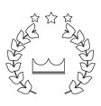 crown laurel wreath stars winner emblem image vector image