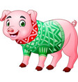 cute pig cartoon wearing winter clothes vector image