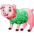 cute pig cartoon wearing winter clothes vector image vector image