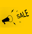 discount banner sale with megaphone and halftone vector image vector image