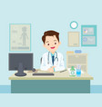doctor sitting at the table vector image vector image