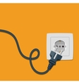 Electricity icon flat with plug and socket vector image vector image