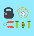 flat icons set of fitness sport equipment and vector image vector image