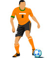 football player waiting out on the field colored vector image vector image