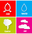 Four Elements Icons Set Fire - Water - Earth and vector image