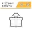 gift editable stroke line icon vector image vector image